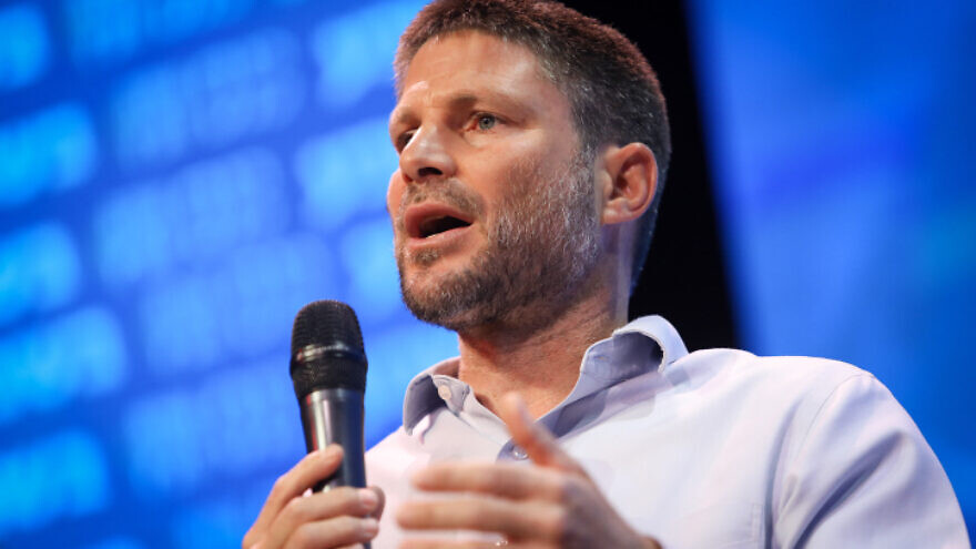 The head of Israel's Religious Zionist Party Bezalel Smotrich speaks during a conference in Jerusalem, on Aug. 2, 2021. Photo by Noam Revkin Fenton/Flash90.