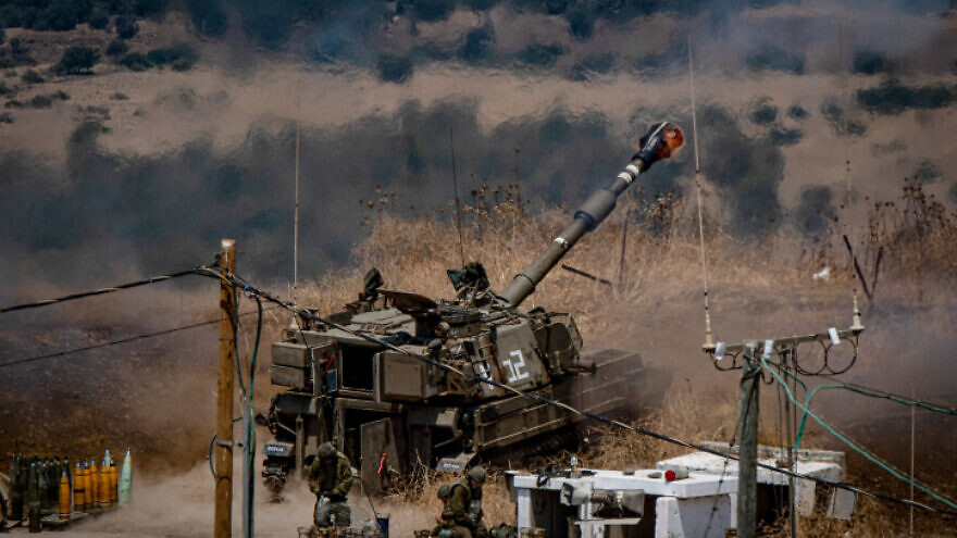 Members of the Israel Defense Forces Artillery Corps fire into Lebanon, near the Israeli border, on Aug. 6, 2021. Photo by Basel Awidat/Flash90.