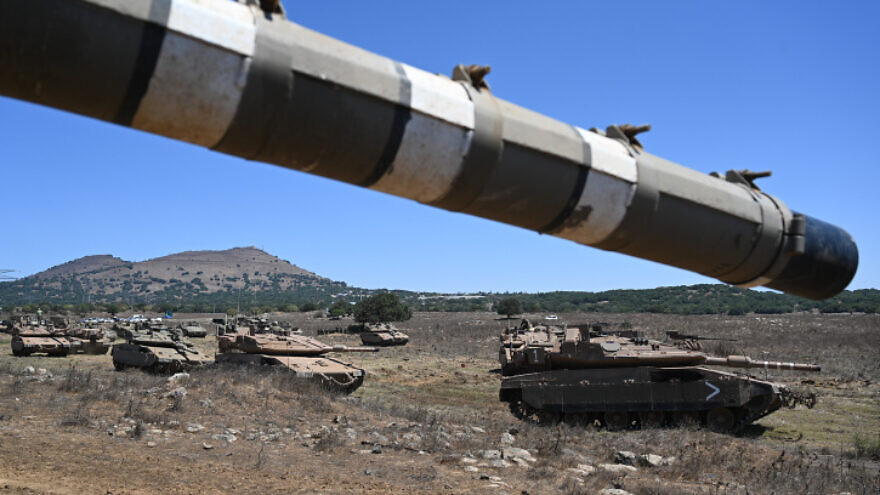 Israel Defense Forces soldiers of Tank Battalion Unit 71 near the Syrian border with Israel in the northern Golan Heights, Aug. 18, 2021. Photo by Michael Giladi/Flash90.