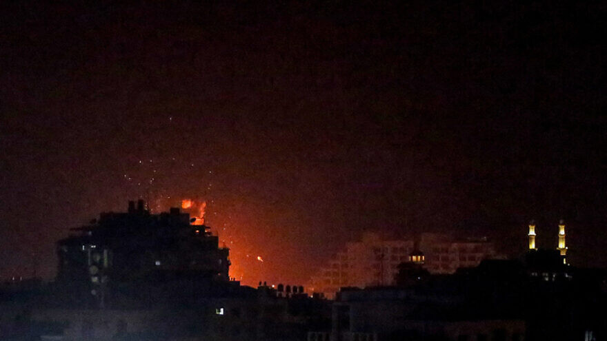 An Israeli airstrike in the southern Gaza Strip, on Aug. 21, 2021. Photo by Atia Mohammed/Flash90.
