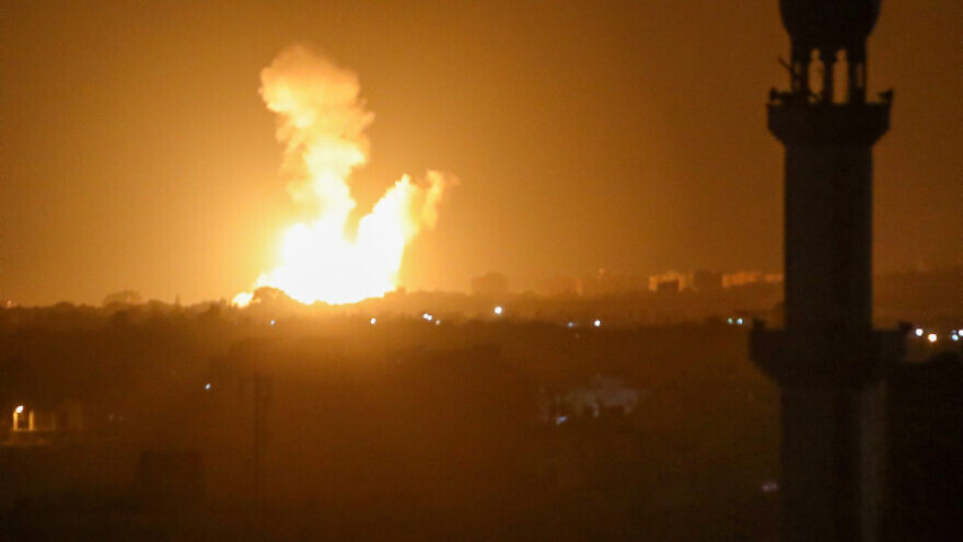 An Israeli airstrike in Khan Yunis, in the southern Gaza Strip, on Aug. 23, 2021. Israel struck Hamas multiple Hamas targets in Gaza on Monday in response to cross-border arson attacks earlier in the day. Photo by Abed Rahim Khatib/Flash90.