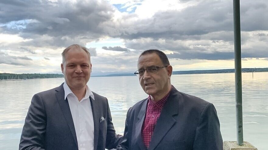 ESG CEO Christoph Otten (left) with Yosef Melamed, executive vice president of Israel Aerospace Industries and general manager of the IAI Aviation Group. Credit: ESG.