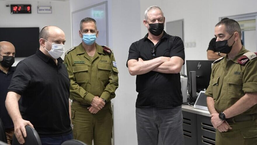 Israeli Prime Minister Naftali Bennett and Defense Minister Benny Gantz join IDF Chief of Staff Lt. Gen. Aviv Kochavi and head of the IDF Southern Command Maj. Gen. Eliezer Toledano for a tour of military readiness, Aug. 17, 2021. Credit: Kobi Gideon/GPO.