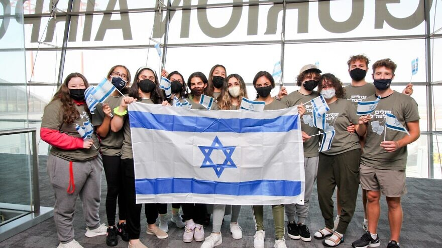 Twelve future lone soldiers from North America landed on a Nefesh B'Nefesh Group Aliyah Flight to serve in the Israel Defense Forces and make their homes in the Jewish state, Aug. 10, 2021. Photo by Yonit Schiller.