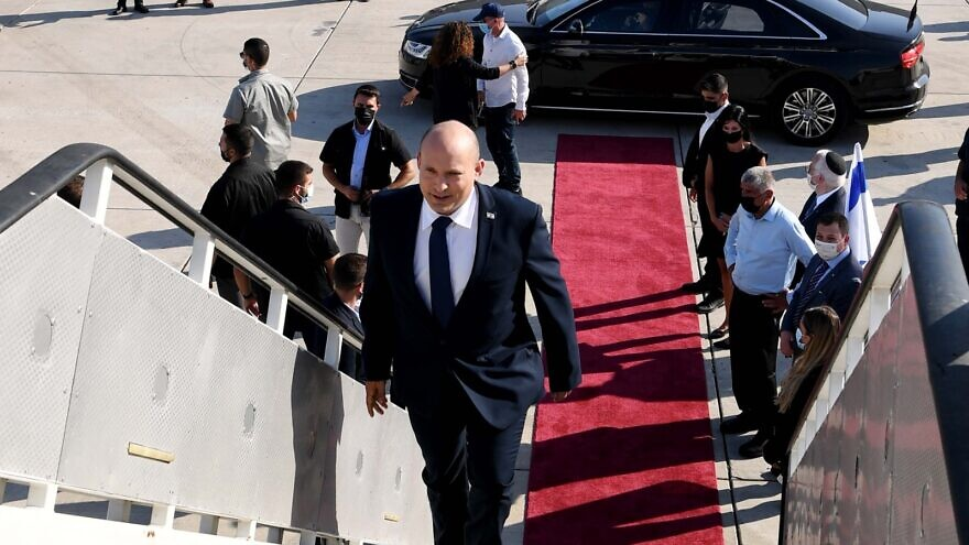 Israeli Prime Minister Naftali Bennett departs for his first official visit to the United States and with U.S. President Joe Biden, Aug. 24, 2021. Credit: Avi Ohayon/GPO.