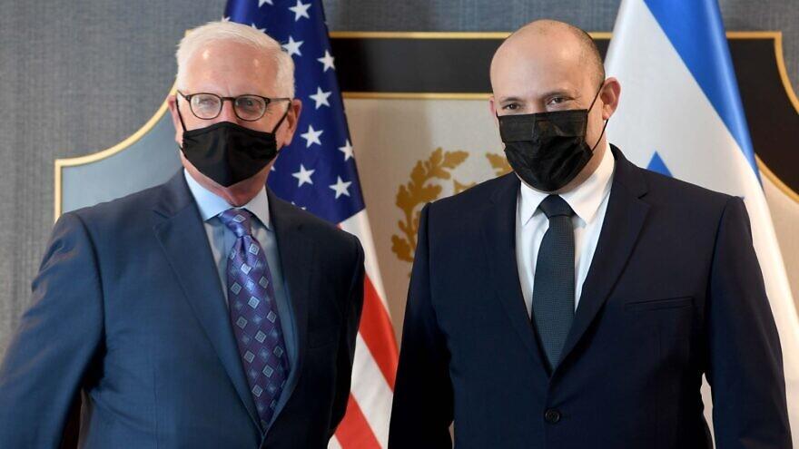 AIPAC CEO Howard Kohr (left) and Israeli Prime Minister Naftali Bennett in Washington, D.C., on Aug. 25, 2021. Credit: Avi Ohayon/GPO.