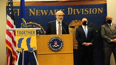 """Orthodox Union Executive Vice President Rabbi Moshe Hauer speaks at the FBI Newark-Field Office's press conference on August 18, 2021. The event launched the Field Office's """"Protecting Our Communities Together"""" national awareness campaign aimed at promoting the reporting of hate crimes and discrimination to federal authorities. Credit: FBI"""
