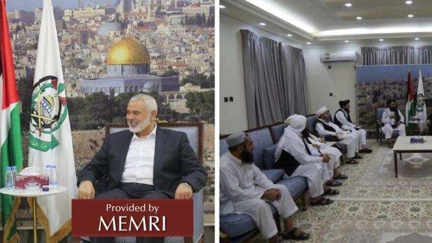Haniya's meeting with Taliban delegation (Source: Twitter, Ebrahemmuslam, August 15, 2021) via MEMRI.
