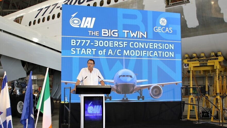 Yossi Melamed, general manager of the Aviation Group at Israel Aerospace Industries Aviation, announcing that IAI is converting a Boeing passenger airliner into a cargo plane, Aug. 10., 2021 Credit: IAI.