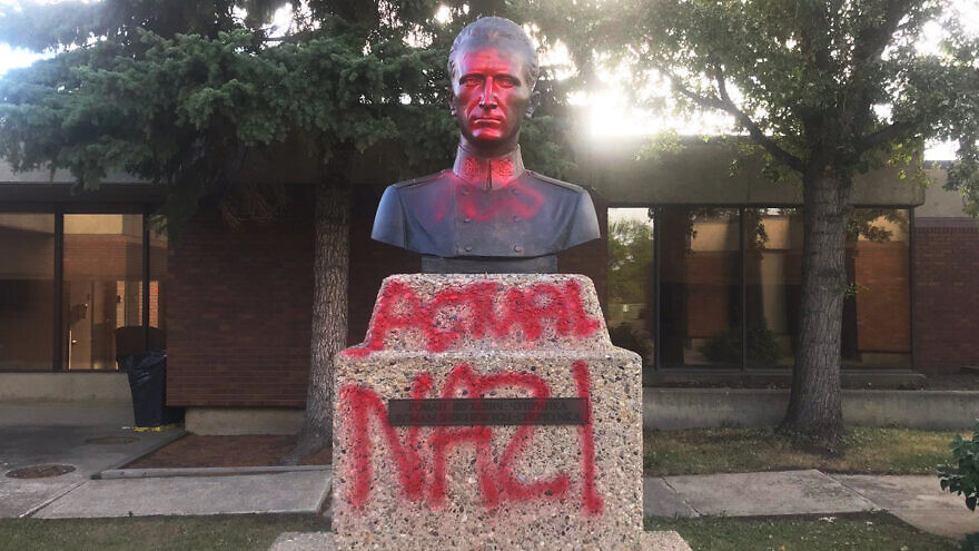 """A statue dedicated to Ukrainian Roman Shukhevych was defaced with the words """"actual Nazi"""" in August 2021. Credit: Friends of Simon Wiesenthal Center in Canada."""