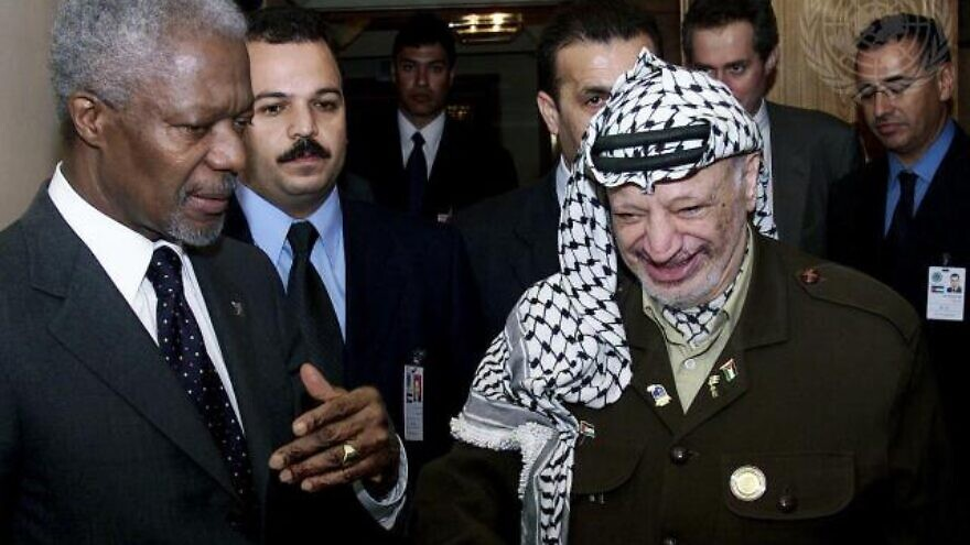 U.N. Secretary-General Kofi Annan meets with PLO chairman Yasser Arafat during the U.N. Racism World Conference in Durban in 2001. Credit: United Nations.