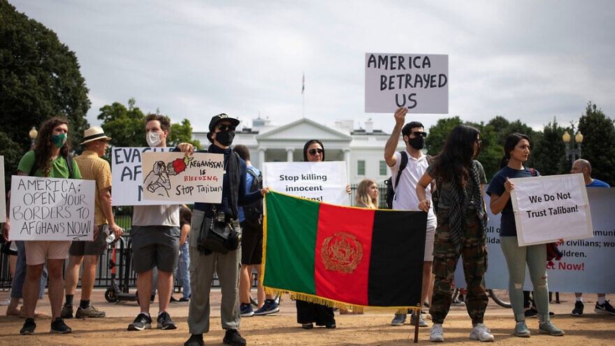 Demonstrators in front of the White House protesting the U.S. withdrawal from Afghanistan. Credit: John Smith 2021/Shutterstock.