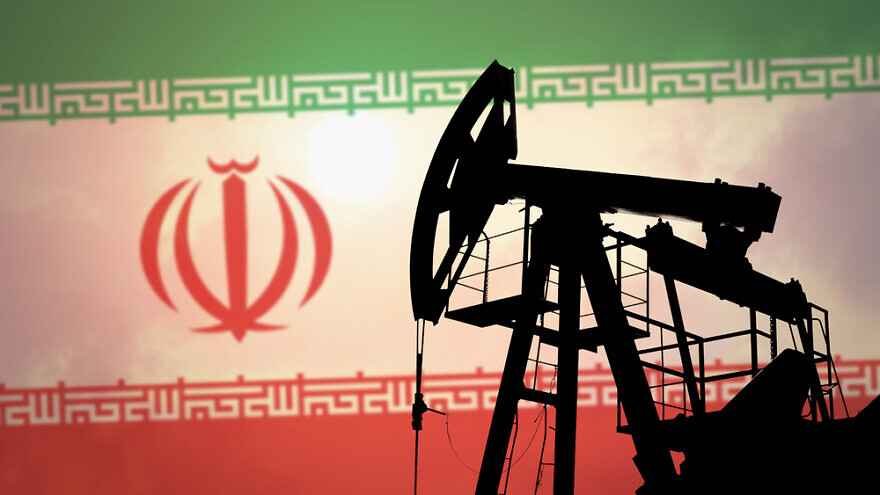 An oil pump on the background of the flag of Iran. Credit: Anton Watman/Shutterstock.