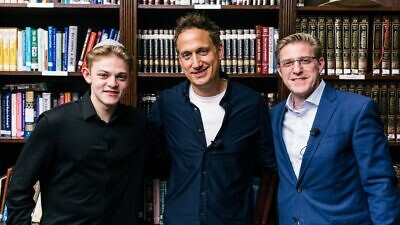 Rabbi Mark Wildes (at right) with comedian Elon Gold and Yehuda Wildes. Credit: Courtesy.