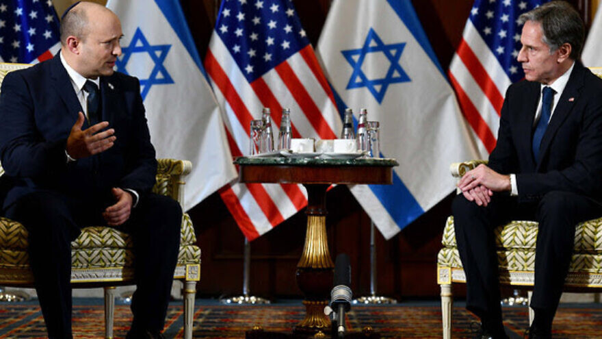 Israeli Prime Minister Naftali Bennett with U.S. Secretary of State Anthony Blinken. Aug. 25, 2021.  Credit: Avi Ohayon/GPO.