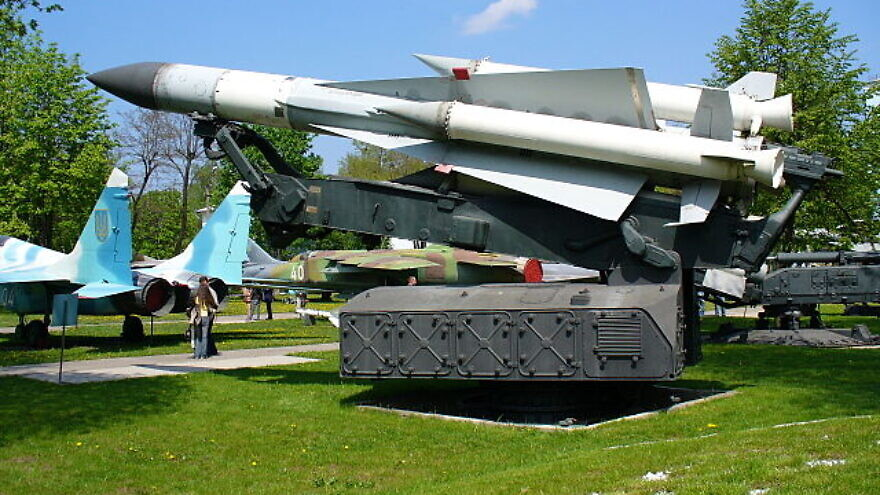 A Russian-built SA-5 surface-to-air missile on its launcher. Photo by George Chernilevsky/Wikipedia.