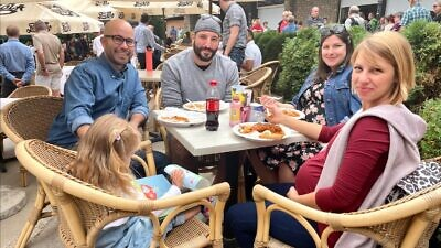 Lili Erdos (far right) and her family at the Cholent Festival in Budapest, Hungary, on Aug. 27, 2021. Photo By Eliana Rudee.