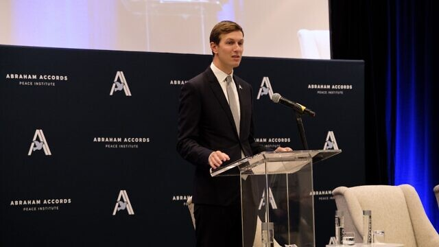 Jared Kushner, senior adviser to former President Donald Trump, addresses a gathering of the Abraham Accords Peace Institute, which helped establish to make sure the accords could meet their potential, Sept. 14, 2021. Credit: Dmitriy Shapiro.