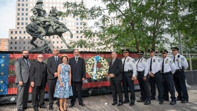 Acting Consul General of Israel in New York Israel Nitzan and the Port Authority Police Department (PAPD) gathered at the Ground Zero memorial site to mark the Jewish calendar's 20th anniversary of the 9/11 terrorist attacks and its victims. Source: Israeli consulate/Twitter.