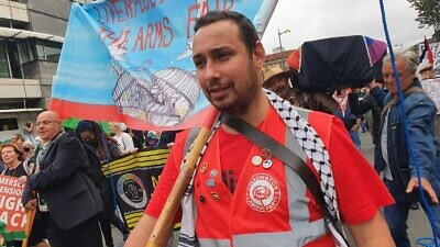 British Labour Party councillor Sam Gorst at an anti-arms rally on Sept. 11, 2021. Source: Sam Gorst/Twitter.
