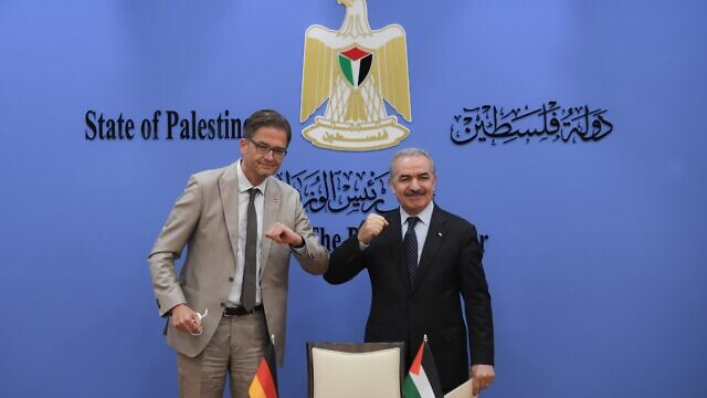 Germany's representative to Ramallah Oliver Owcza with Palestinian Authority Prime Minister Mohammed Shtayyeh. Source: PA. Prime Minister's Office/Twitter.