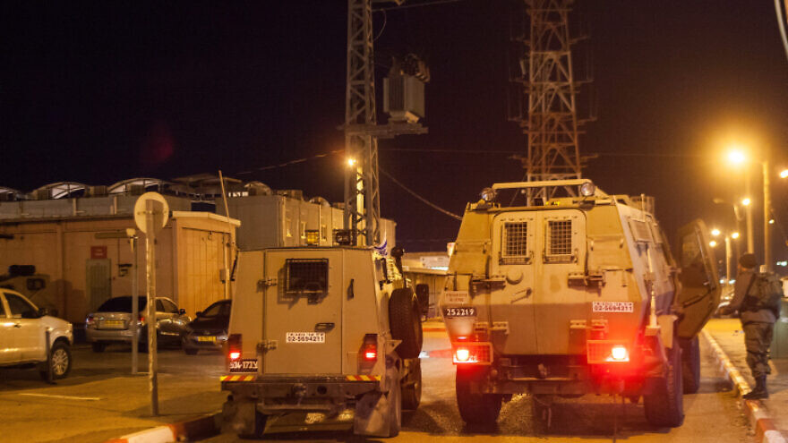 IDF forces at the Al-Jalama checkpoint near Jenin, following a drive-by terrorist attack earlier in the month, Jan. 18, 2018. Photo by Basel Awidat/Flash90.