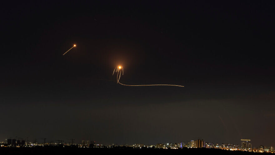 A long-exposure picture showing Israel's Iron Dome air-defense system intercepting rockets fired from the Gaza Strip, as seen from Ashkelon, May 14, 2021. Photo by Avi Roccah/Flash90.
