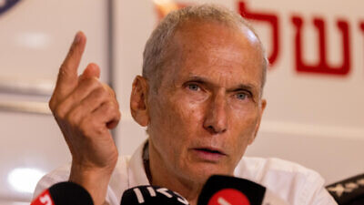 Israeli Public Security Minister Omer Bar-Lev speaks at a press conference on Aug. 15, 2021. Photo by Yonatan Sindel/Flash90.