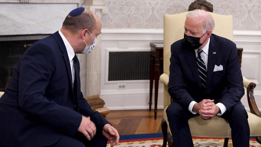 U.S. President Joe Biden meets with Israeli Prime Minister Naftali Bennett at the White House in Washington, D.C., Aug. 27, 2021. Photo by Avi Ohayon/GPO.