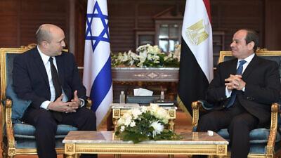 Israeli Prime Minister Naftali Bennett meets with Egyptian president Abdel Fattah Al-Sisi in Sharm el-Sheikh, Egypt, on September 13, 2021. Photo by Kobi Gideon/GPO