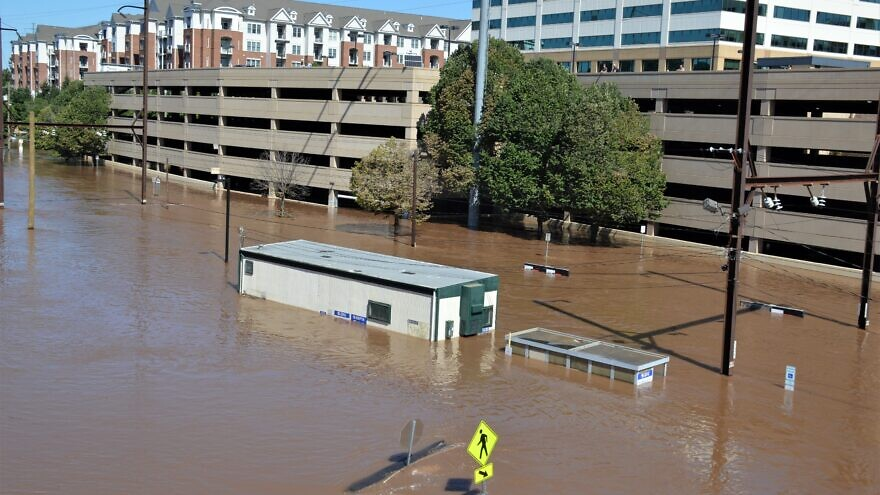 Flooding in Conshohocken, Pa., the day after rains associated with Hurricane Ida dumped inches in hours, Sept. 2, 2021. Credit: Michael M Stokes/Flickr via Wikimedia Commons.