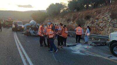 United Hatzalah volunteers at the site of the bus-van-car crash near Hurfeish in the Upper Galilee, Sept. 29, 2021. Credit: United Hatzalah.