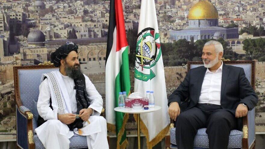 Taliban leader Mullah Abdul Ghani Baradar and Hamas leader Ismail Haniyeh meet in Doha, Qatar, August 2021. Source: Hamas.