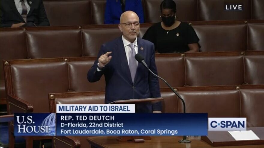 Rep. Ted Deutch (D-Fla.) speaking on the floor of the House about a bill to fund the Iron Dome missile-defense system to Israel. Source: Screenshot/C-SPAN.