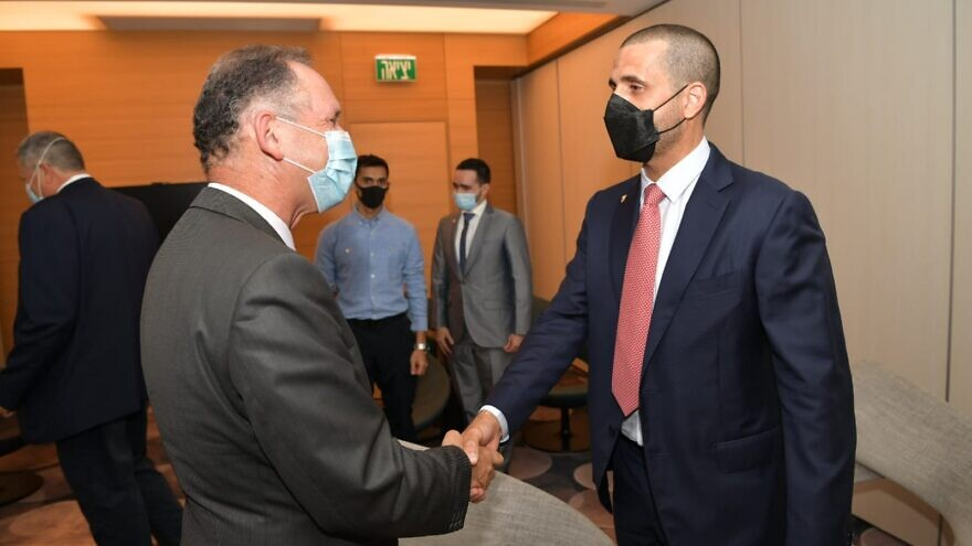 Bahrain's first ambassador to Israel, Khaled Yousif Al-Jalahmah (right), on his arrival to the country, Aug. 31, 2021. Photo by Shlomi Amsalem/GPO.