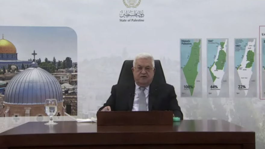 Palestinian Authority leader Mahmoud Abbas addressing the U.N. General Assembly, Sept. 24, 2021. Source: Screenshot.