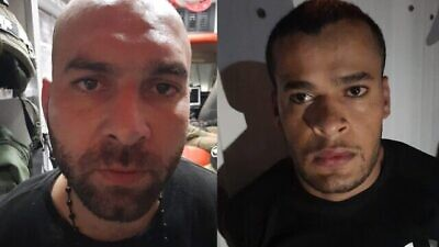 Iham Kamamji (left) and Munadil Nafiyat, the two remaining escapees from the Gilboa Prison, were recaptured on Sept. 19, 2021. Credit: Shin Bet.