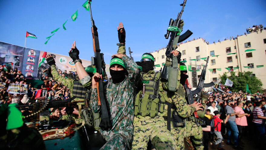 Hamas members attend a rally in Beit Lahiya on May 30, 2021. Photo by Atia Mohammed/Flash90.