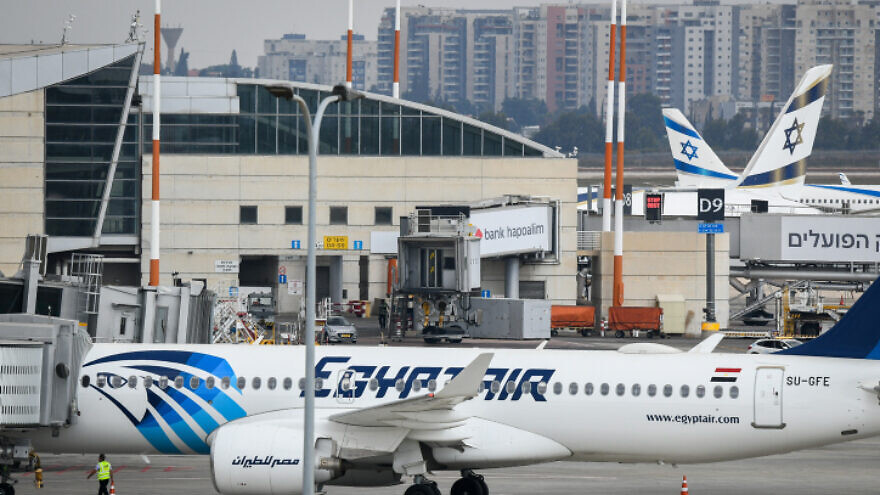 An EgyptAir Airbus 320 lands at Ben Gurion Airport, Oct. 3, 2021. Photo by Yossi Zeliger/Flash90.