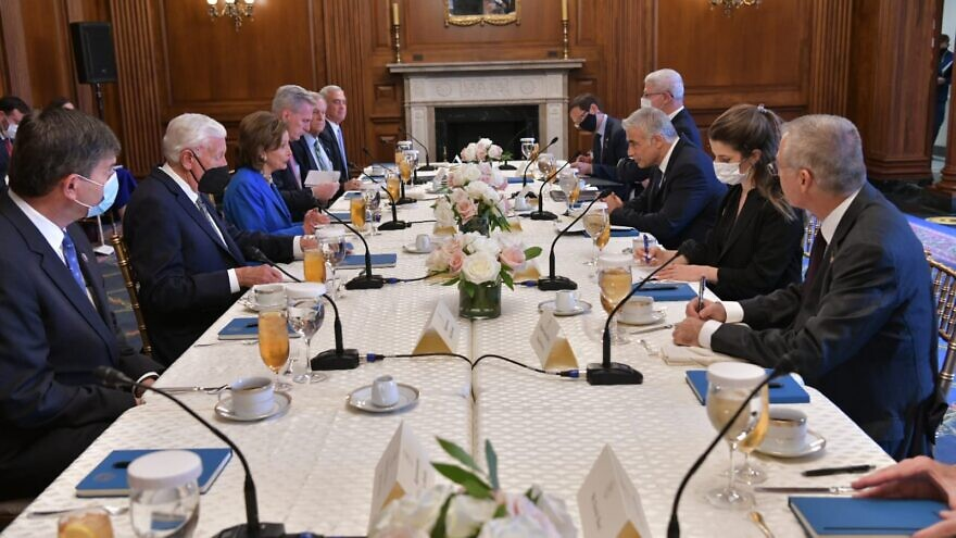 Israeli Foreign Minister Yair Lapid meets with U.S. House of Representatives Speaker Nancy Pelosi and House leadership in Washington on Oct. 12, 2021. Credit: Shlomi Amsalem/GPO.