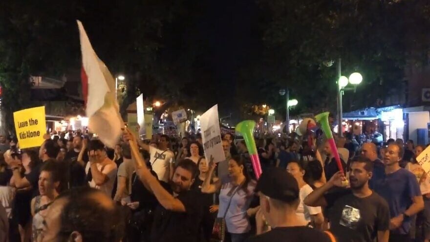 Israelis protest against the country's latest Green Pass restrictions in Tel Aviv, Oct. 10, 2021. Source: Twitter.