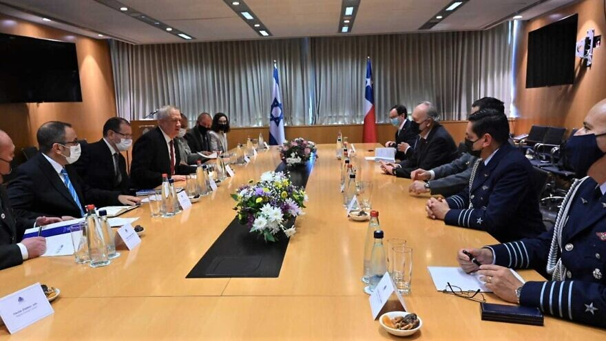 Israeli Defense Minister Benny Gantz meets with his counterpart,  Chilean Defense Minister Baldo Prokurica, and other military officials in Tel Aviv, where they signed a Memorandum of Understanding centered on mutual defense, Oct. 6, 2021. Photo by Ariel Hermoni/Israel Ministry of Defense.