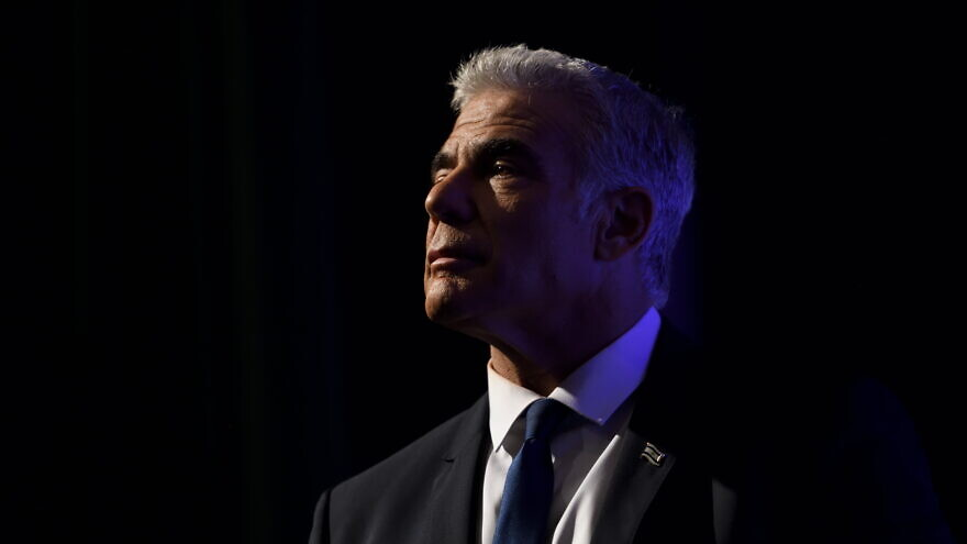 Israeli Foreign Minister Yair Lapid speaks at a Yesh Atid Party conference marking 100 days for the formation of the Israeli government, Sept. 22, 2021. Photo by Gili Yaari/Flash90.