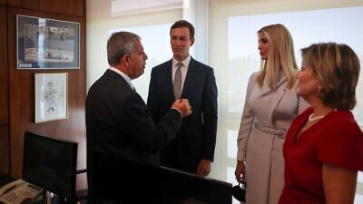 Former senior adviser in the Trump administration Jared Kushner, who now heads the Abraham Accords Institute for Peace, and his wife, Ivanka Trump, with Knesset Speaker Michael Levy, Oct. 11, 2021. Photo by Noam Moskowitz/Knesset.