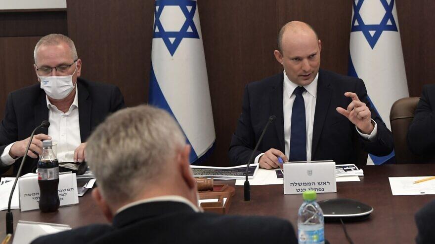 "Israeli Prime Minister Naftali Bennett convenes the ""Coronavirus Cabinet,"" Oct. 3, 2021. Credit: Koby Gideon/GPO."