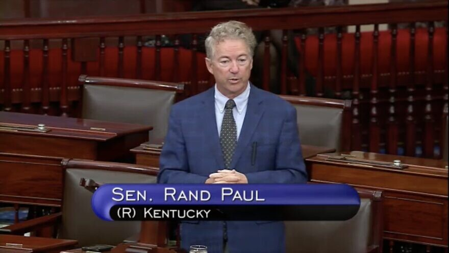 Sen. Rand Paul (R-Ky.) speaking on the floor of the U.S. Senate concerning a bill to provide additional funding for Israel's Iron Dome. Source: Screenshot.