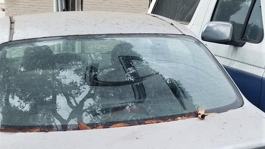 A car belonging to a campus Chabad-Lubavitch emissary in Santa Monica, Calif., was defaced in the synagogue parking lot on Oct. 8, 2021. Source: Facebook.