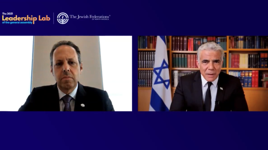 Israeli Foreign Minister Yair Lapid replies to Mark Wilf, chair of the Board of Trustees of the Jewish Federations of North America, as part of the 2021 General Assembly (GA) Leadership Lab, Oct. 6, 2021. Source: Screenshot.