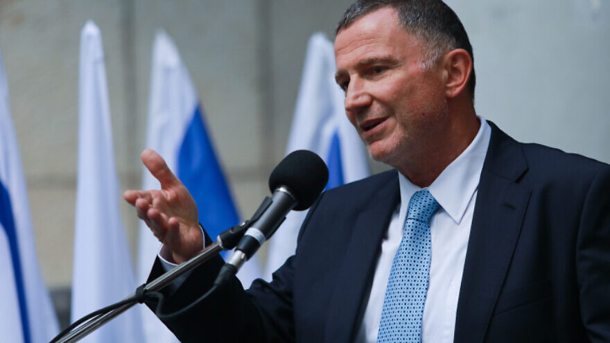 Former Israeli minister of Health Yuli Edelstein attends a ceremony for the newly appointed head of the Ministry of Health in Jerusalem, July 13, 2021. Flash90