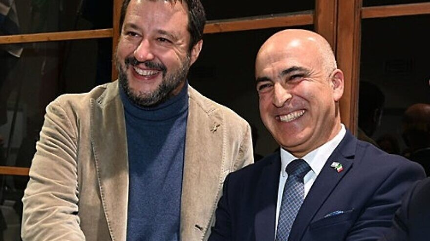 Italian politician Matteo Salvini (left) and Israeli Ambassador to Italy Dror Eydar attend a ceremony in Florence, Nov. 13, 2019. Credit: Claudio Giovannini.